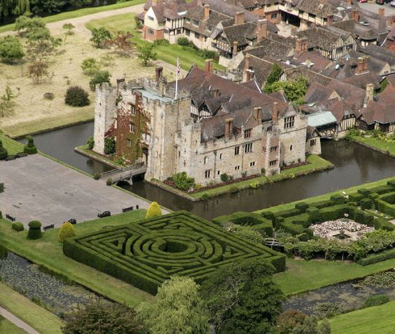 Hever Castle, Kent, England / 13th century moated castle, the childhood home of Anne Boleyn, the second queen consort of King Henry VIII of England, spent her early youth there, after her father, Thomas Boleyn had inherited it in 1505.