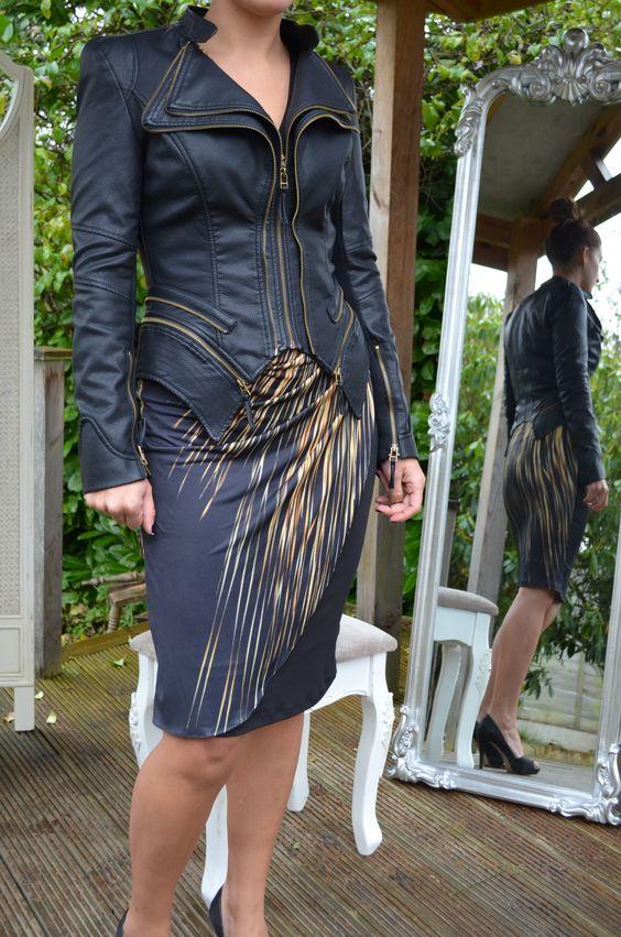 FU Harlem Wrap Dress £150 and FU Pulp Leather Look Jacket £110