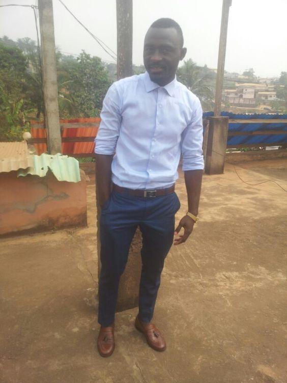 #men'swear #navy blue pants #sky blue shirt #brown shoes. #Mens #fashion. +237 673644411