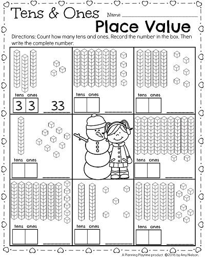 1st Grade Math Worksheet For February Place Value Tens And Ones First Grade Math Worksheets 1st Grade Math 1st Grade Math Worksheets