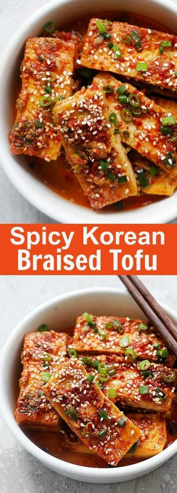 Spicy Korean Tofu - quick and easy Korean braised tofu with chili powder, garlic, soy sauce, sugar a