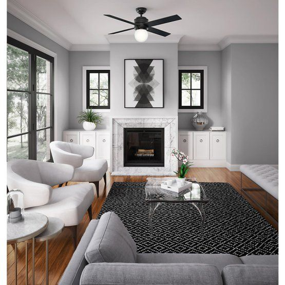 Hunter Hepburn 52 In Indoor Ceiling Fan With Light And Wall Control Grey Walls Living Room Living Room Grey Minimalist Living Room