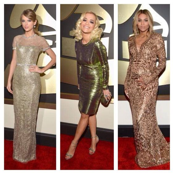 Metallics were the top trend at this years 2914 Grammy's!  The dresses were stunning!  www.grammy.com