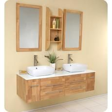 Bellezza Natural Wood Modern Double Vessel Sink Bathroom Vanity Home Depot  Canada