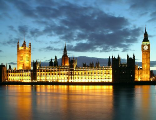 Parliament at sunset in London.