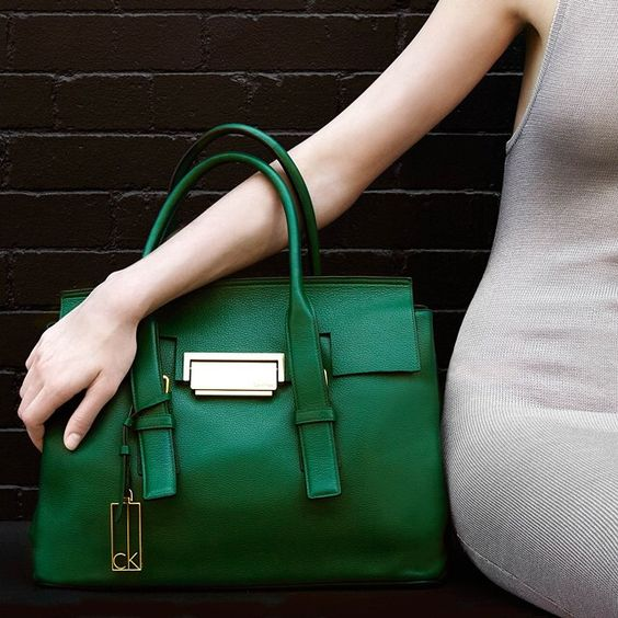 """«Green with envy. The """"Kelsey"""" pebble leather satchel from Calvin Klein »"""