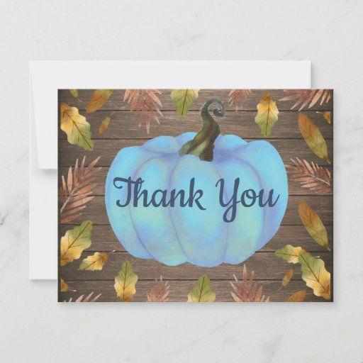 Fall Thank You Card Wedding Thanksgiving Autumn Thank You Card Pumpkin Greeting Card Baby Shower Bridal Shower Fall Stationery