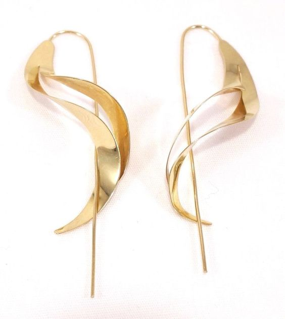 14k Solid Gold Earrings Dangle Extended Post Truly Unique Design Free Shipping #DropDangle