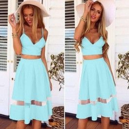 Stylish Lady Women\'s Fashion Casual Dress Set Strap Backless Crop Tops and Pleated Dress $5.05
