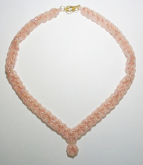 Handcrafted Peach-Pink Thunder Polish Crystal Necklace  $30.50