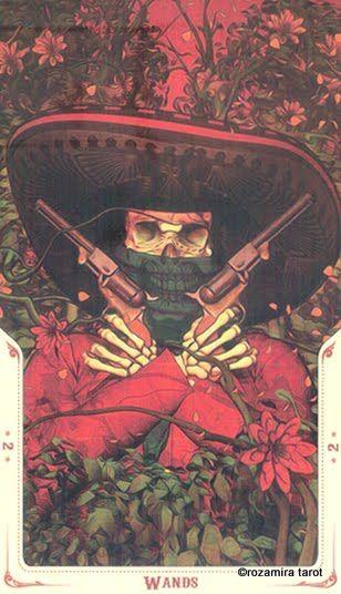 Santa Muerte tarot 2 wands
