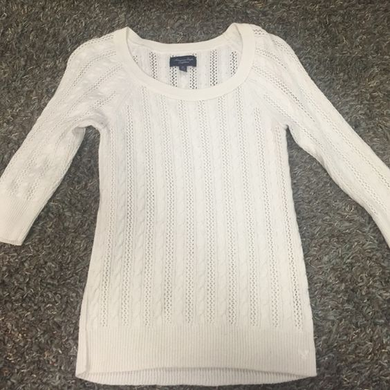 AE- Sweater American Eagle cable knit sweater. With a scoop neck and small buttons on sleeves. Cream color, size medium. American Eagle Outfitters Sweaters Crew & Scoop Necks