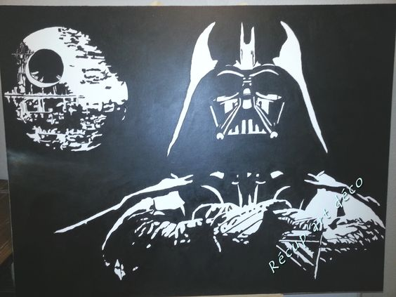 Dark vador et l 39 toile noire peinture sur toile noir blanc toiles - Toile noir et blanc pas cher ...