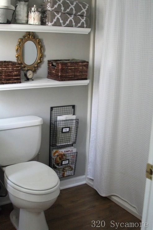 quot bathrooms   Glidden   Fossil Grey   Target White Waffle Weave Fabric Shower Curtain gray walls Home Depot white floating shelves glass canisters HomeGoods. bathrooms   Glidden   Fossil Grey   Target White Waffle Weave