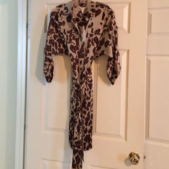 Silk dresses Leopard print DVF shirt dress with tags. Diane von Furstenberg Dresses Long Sleeve