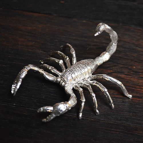 Scorpion 2.53 Ounce Hand Cast Silver Collectible  Approx. 1 1/2 in. Tall (Stones sold separately) Hand cast from Certified .999 Fine Silver This item is unique and limited in mintage. Follow us on Instagram @barrelyliving and feel free to ask any questions!  *Barrely Living is a company based on high quality craftsmanship. All items are hand crafted and may vary in size, weight and color.