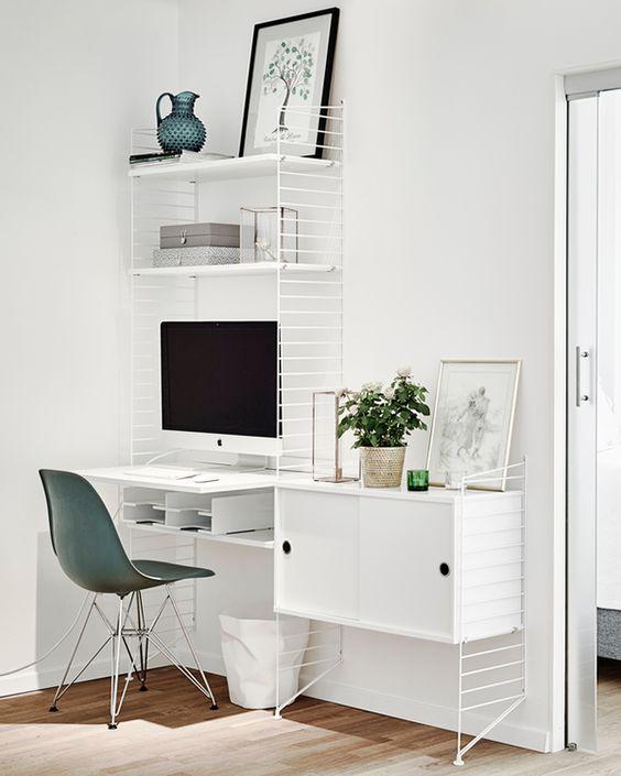 Idée aménagement bureau. http://www.m-habitat.fr/petits-espaces/bureau/amenagement-d-un-coin-bureau-2562_A