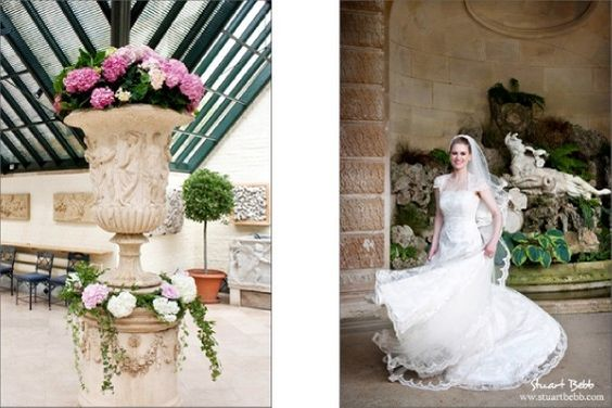 The winter garden at The Dairy Waddesdon and bride at The Aviary Waddesdon Manor
