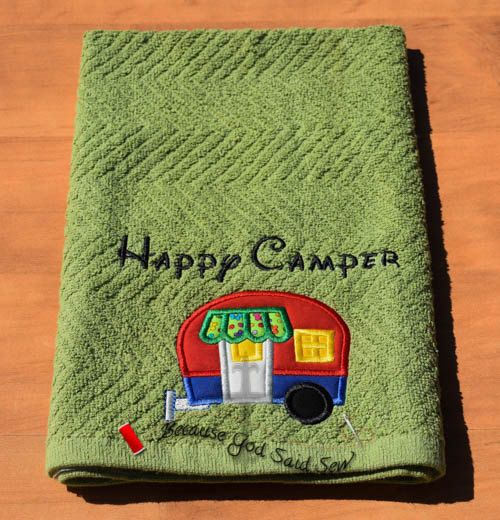 Happy Camper Kitchen Towel Tent Towel Pull by BecauseGodSaidSew