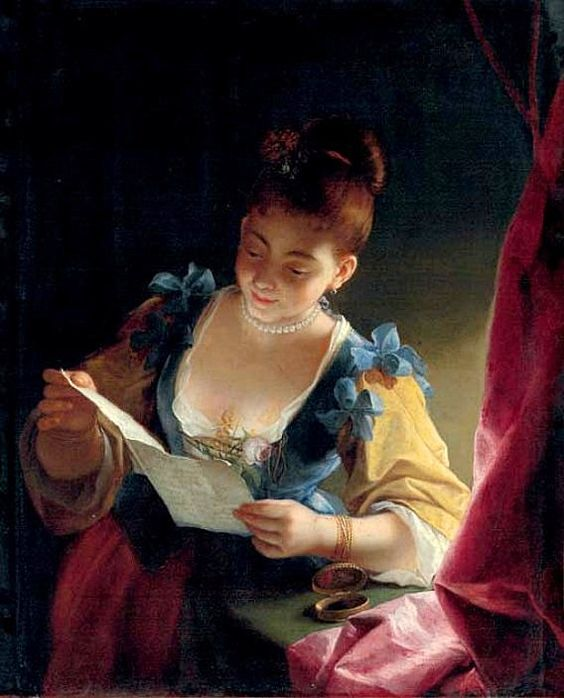 1717-1719 Young Woman Reading a Letter by Jean Raoux