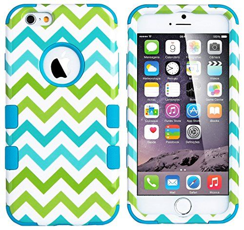 """myLife Summer Green and Shades of Blue {3-piece Lined Chevron ZigZags} Hybrid Armor Case for the NEW iPhone 6 (6G) 6th Generation Phone by Apple, 4.7"""" Screen Version (Two External Snap On Hard Protector Plates + Full Body Internal Soft Silicone Bumper Gel Protection) myLife Brand Products http://www.amazon.com/dp/B00RKLD61W/ref=cm_sw_r_pi_dp_qw.Xub0ZX6DMS"""