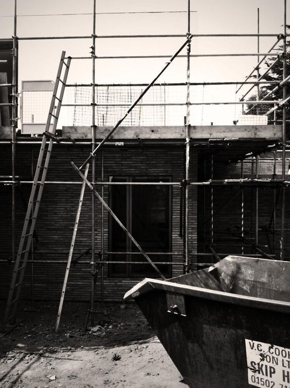 SOUP Architects | Suffolk House: East Elevation behind scaffolding. July 13.
