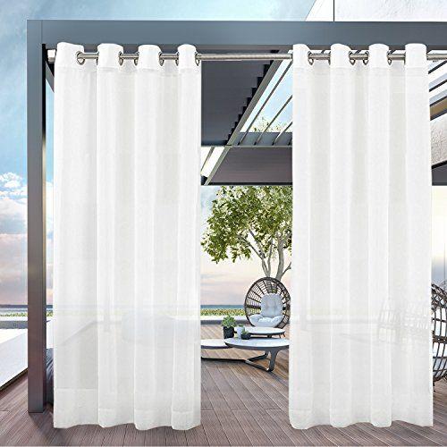 Pravive White Patio Sheer Curtains Grommet Top Waterpro Https