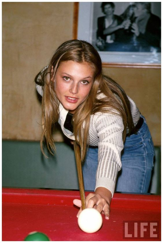 Bridget Hall shooting pool Dave Allocca 1995