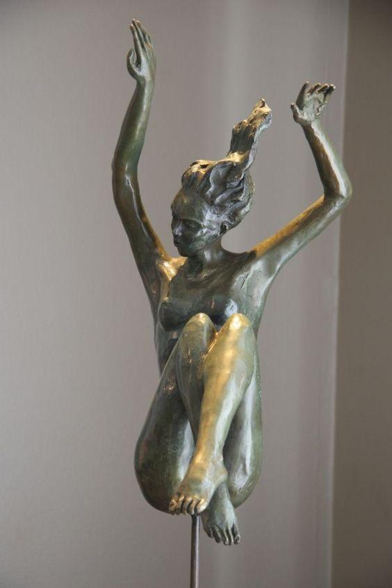 #Bronze Unselfconscious Relaxed Nude #sculpture by #sculptor Heidi Hadaway titled: 'Descending (Small bronze nude Girl Under Water statue)'. #art #artist #artwork #HeidiHadaway