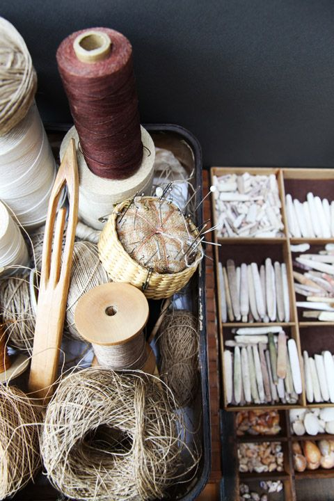 in the studio of kay sekimachi, a berkeley-based textile artist who has been working with traditional knotting and weaving techniques and fiber for several decades. [via the big things blog]