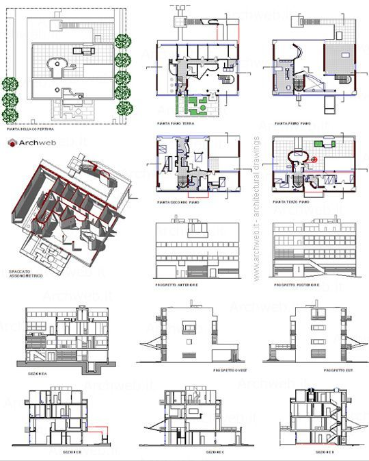Stein House 2d Villa A Garches Dwg Planimetrie Di Case Architettura Architettura Moderna