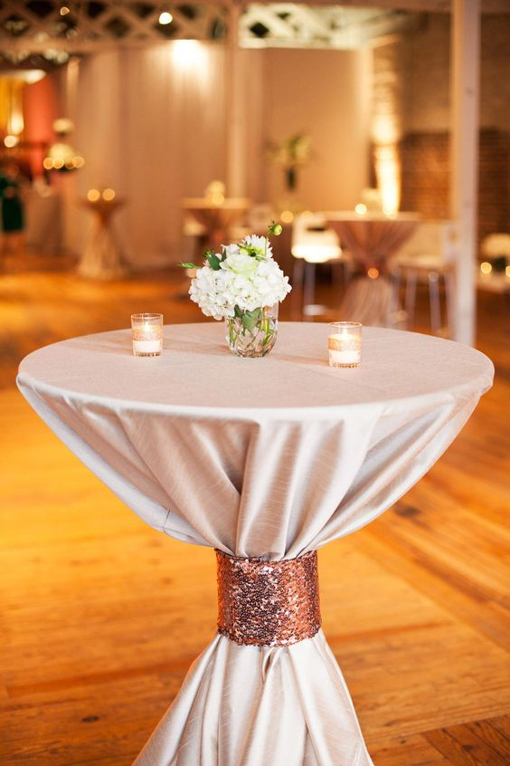 Raleigh wedding from a southern soiree glitter cloths for Wedding cocktail table ideas