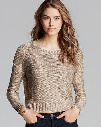 AQUA Sweater - Crewneck Marled Crop | Bloomingdale's