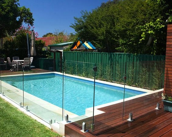 House landscape fence and glass fence on pinterest for Pool platform ideas