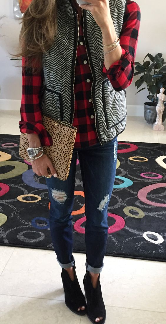#fall #outfits women's gray herringbone zip-up vest, black-and-red checked sport shirt, and distressed blue jeans