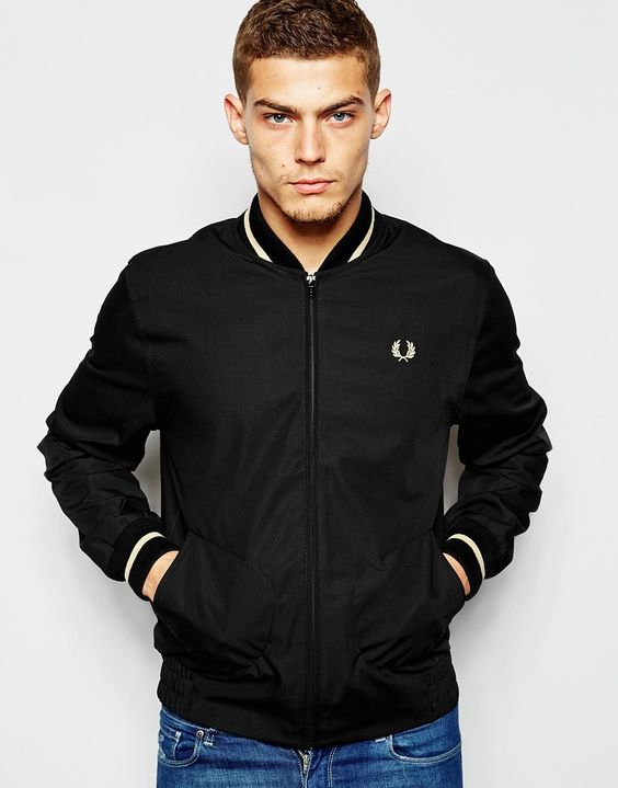 bomber jacket by fred perry laurel wreath collection woven fabric ribbed trims with tipping zip. Black Bedroom Furniture Sets. Home Design Ideas