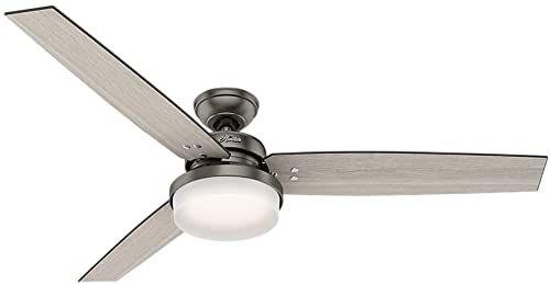 Best Seller Hunter Indoor Ceiling Fan Led Light Remote Control Sentinel 60 Inch Brushed Slate 59458 Online Ceiling Fan Led Dresser With Mirror