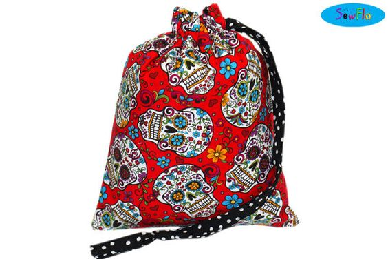 Sock Knitting Project Bag | Knitting Bag | Drawstring Pouch | Sugar Skulls | Day of the Dead