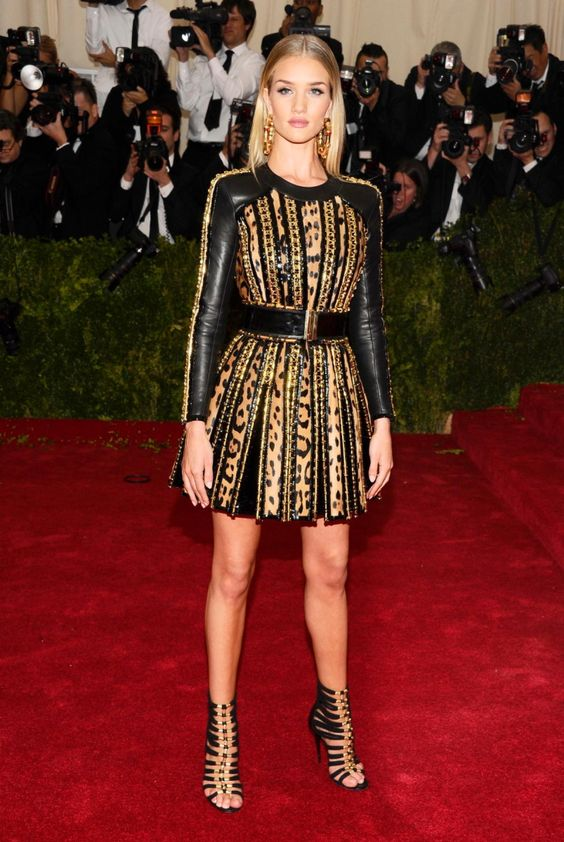 Supermodel Rosie Huntington-Whiteley looked absolutely fierce in a Balmain dress that showed off her enviable pins at the Met Gala 2014.