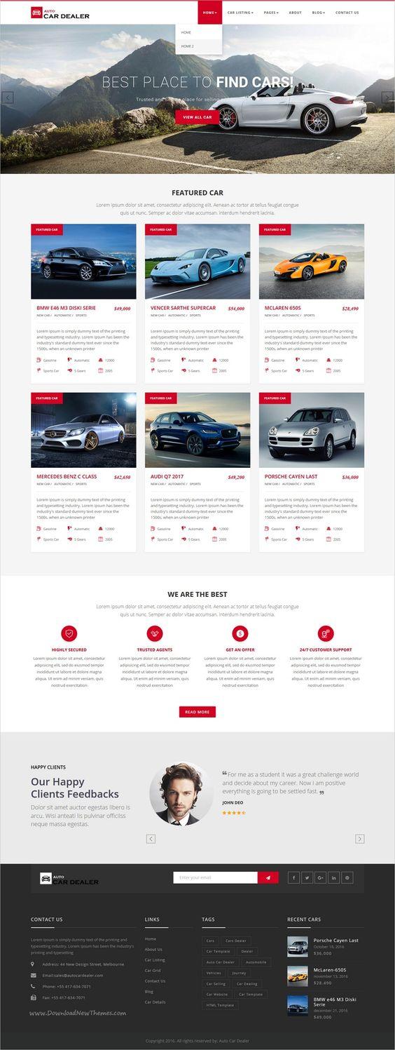 Modern and multipurpose auto dealer premium html5 template suitable for car dealer websites responsive car website design development pinterest