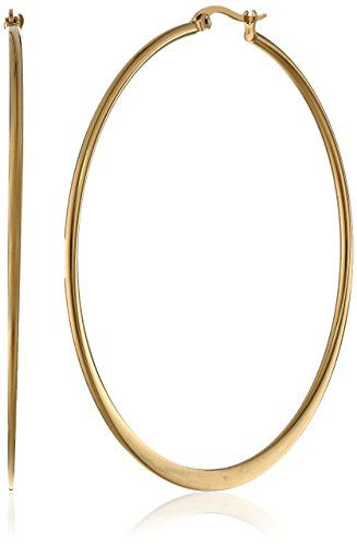 ON SALE AT http://jewelrydealsnow.com/?a=B00E371P00 - Stainless Steel 60mm Flat Accent, Top Click Closure Hoop Earrings
