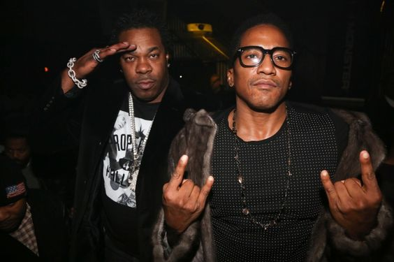 Leaders of the old school. Hip-hop legends Busta Rhymes and Q-Tip chill at their The Abstract And The Dragon mixtape release party on Dec. 10 in New York