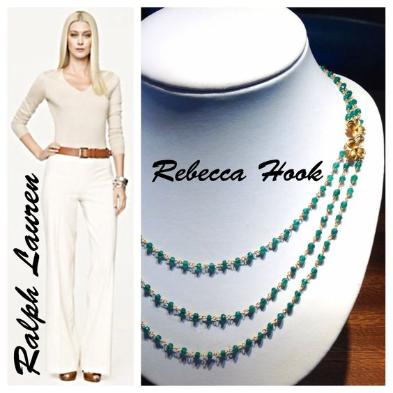 Beautiful #rebeccahook necklace available at #krombholzjewelers paired with this #ralphlauren outfit makes the perfect #fall2013 look!
