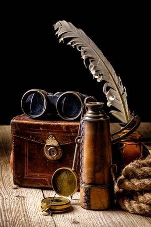 Vintage Grunge Still Life Antique Items On Wooden Table Travel In 2020 Vintage Grunge Antique Photography Still Life