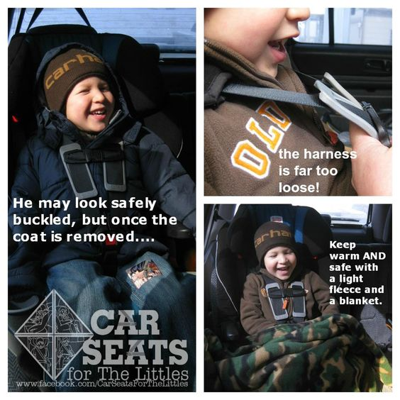 No coats in the car seat! The extra bulk will compress in a crash