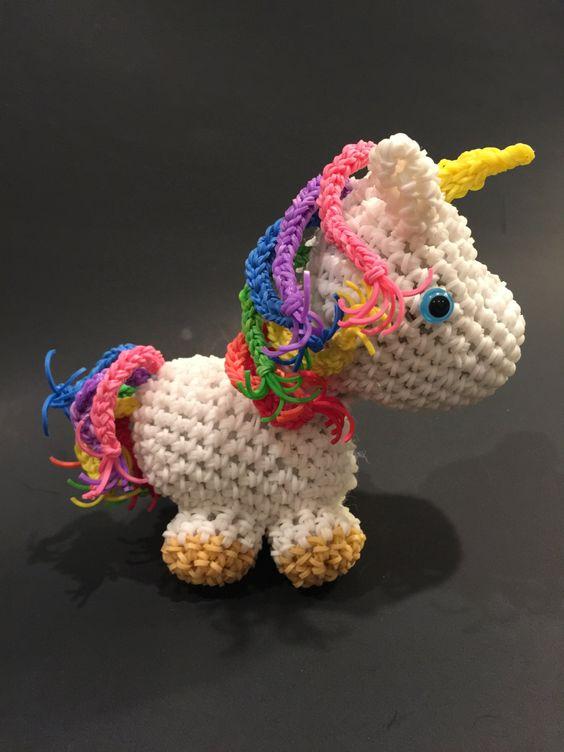 Amigurumi Lalylala : Unicorn Rubber Band Figure, Rainbow Loom Loomigurumi ...