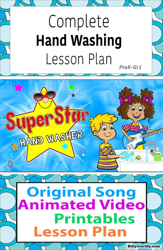 Cute Hand Washing Animated Video with Lesson Plan for Kids PreK-Gr1, hand washing timing song, teacher guide, and printables #handhygiene