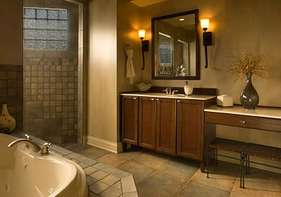 I like the warmth of this bathroom, and the oversized tile on the floors.