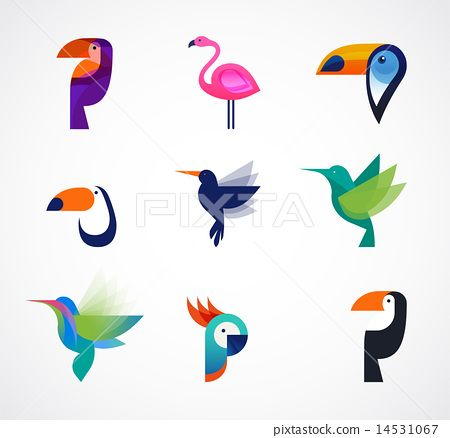 Tropical birds - set of vector icons - Stock Illustration(No.14531067). Find images exactly you are looking for from more than 17,100,000 of royalty-free stock photos, illustrations, and vectors. Download and enjoy fresh & incredible images added every day.