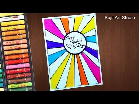 Teacher S Day Card Drawing Very Easy With Oil Pastels For Beginners Step By Step Youtube Card Drawing Teachers Day Card Oil Pastel